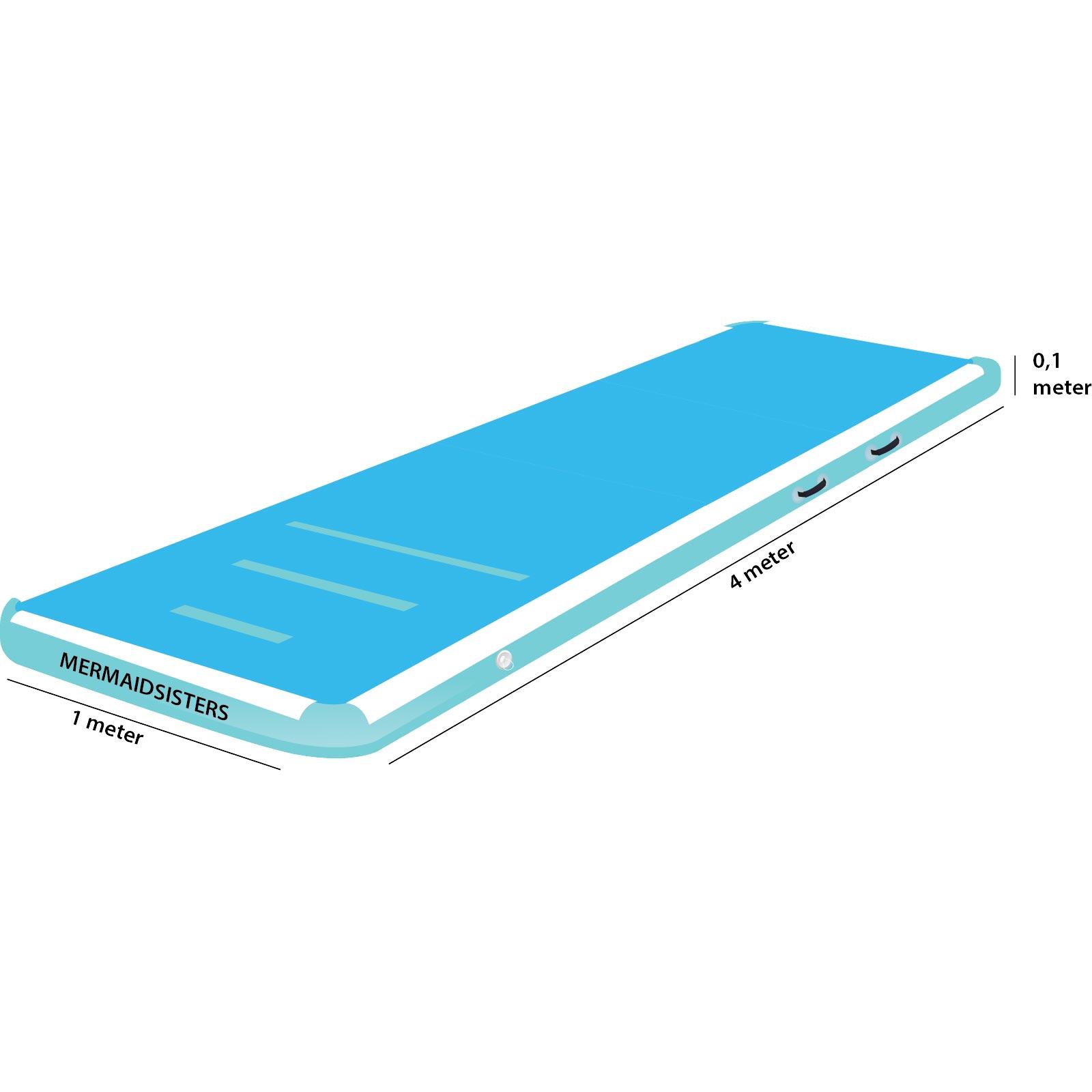 AirTrack 4 meter blauw 1 meter breed 10 cm hoog