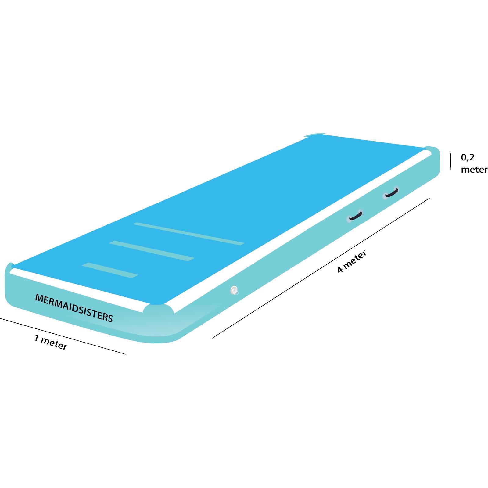 AirTrack 4 meter blauw 1 meter breed 20 cm hoog