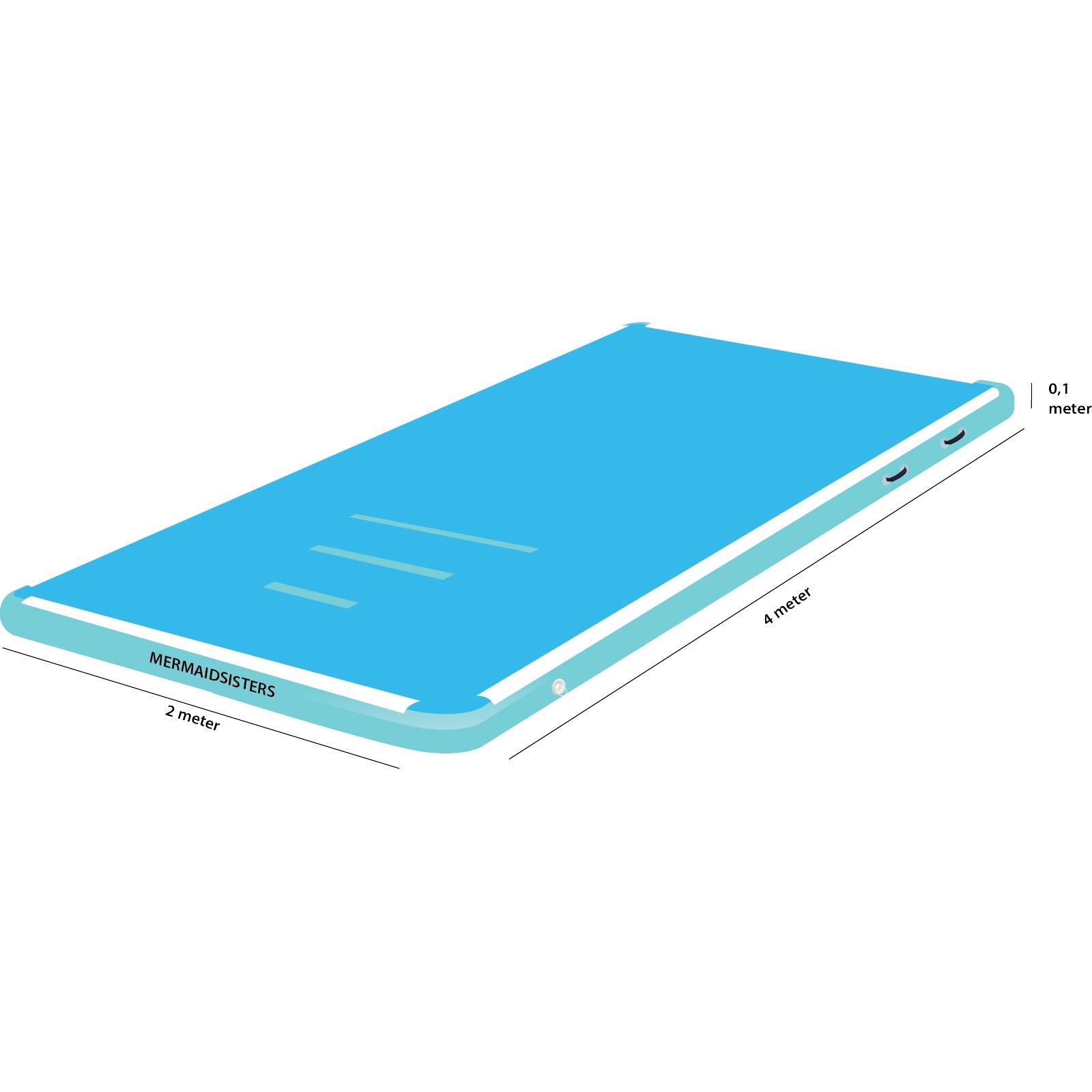AirTrack 4 meter blauw 2 meter breed 10 cm hoog