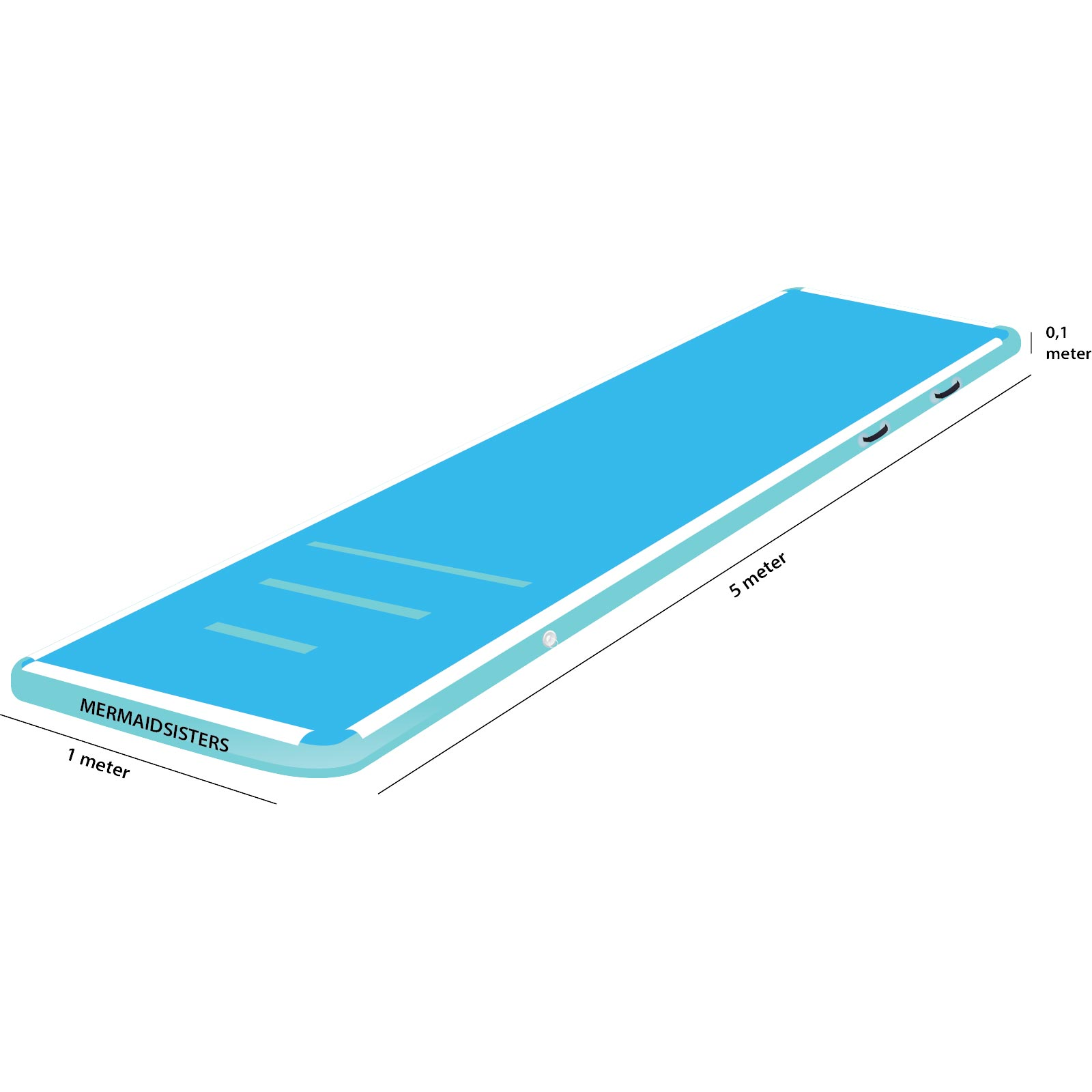 AirTrack 5 meter blauw 1 meter breed 10 cm hoog