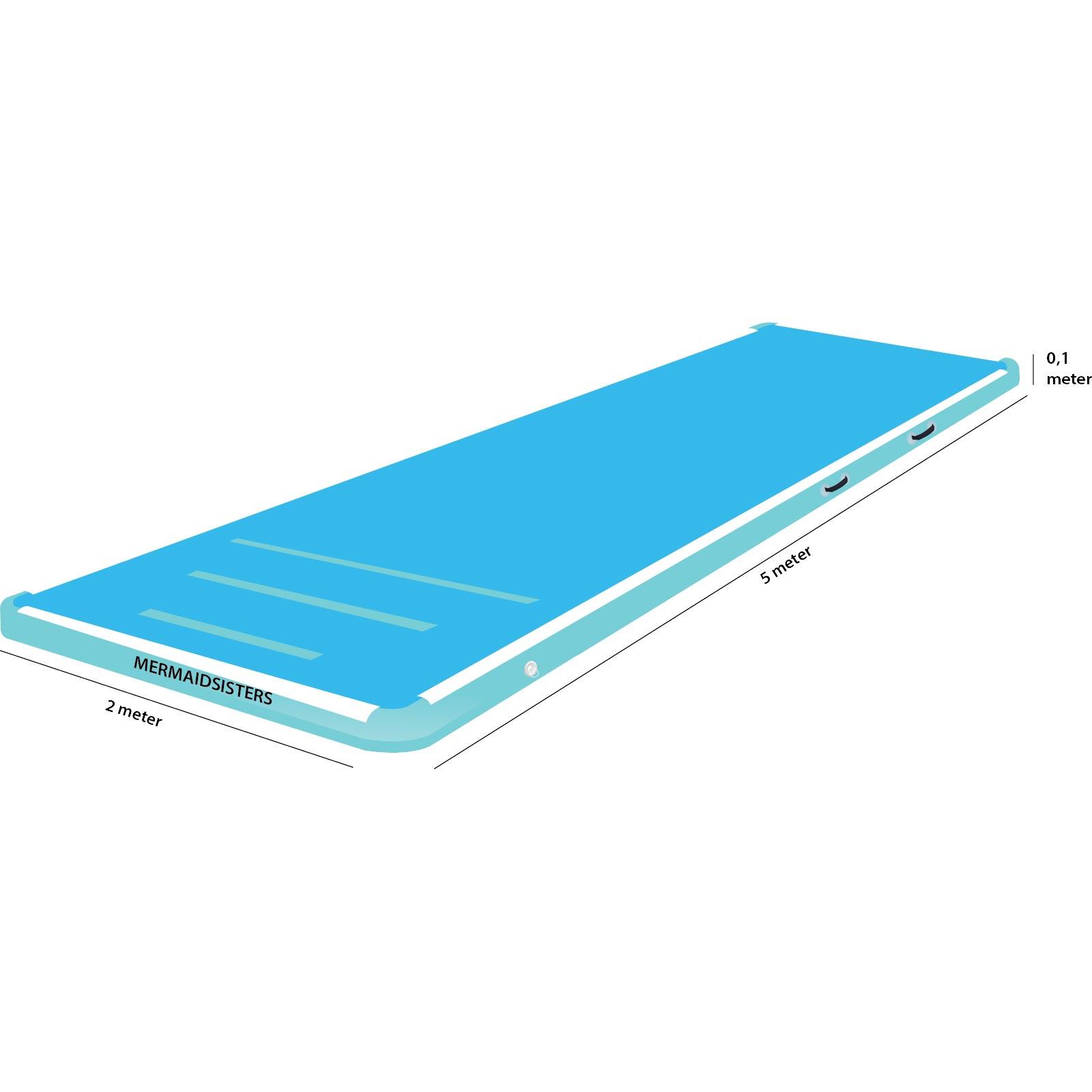 AirTrack 5 meter blauw 2 meter breed 10 cm hoog