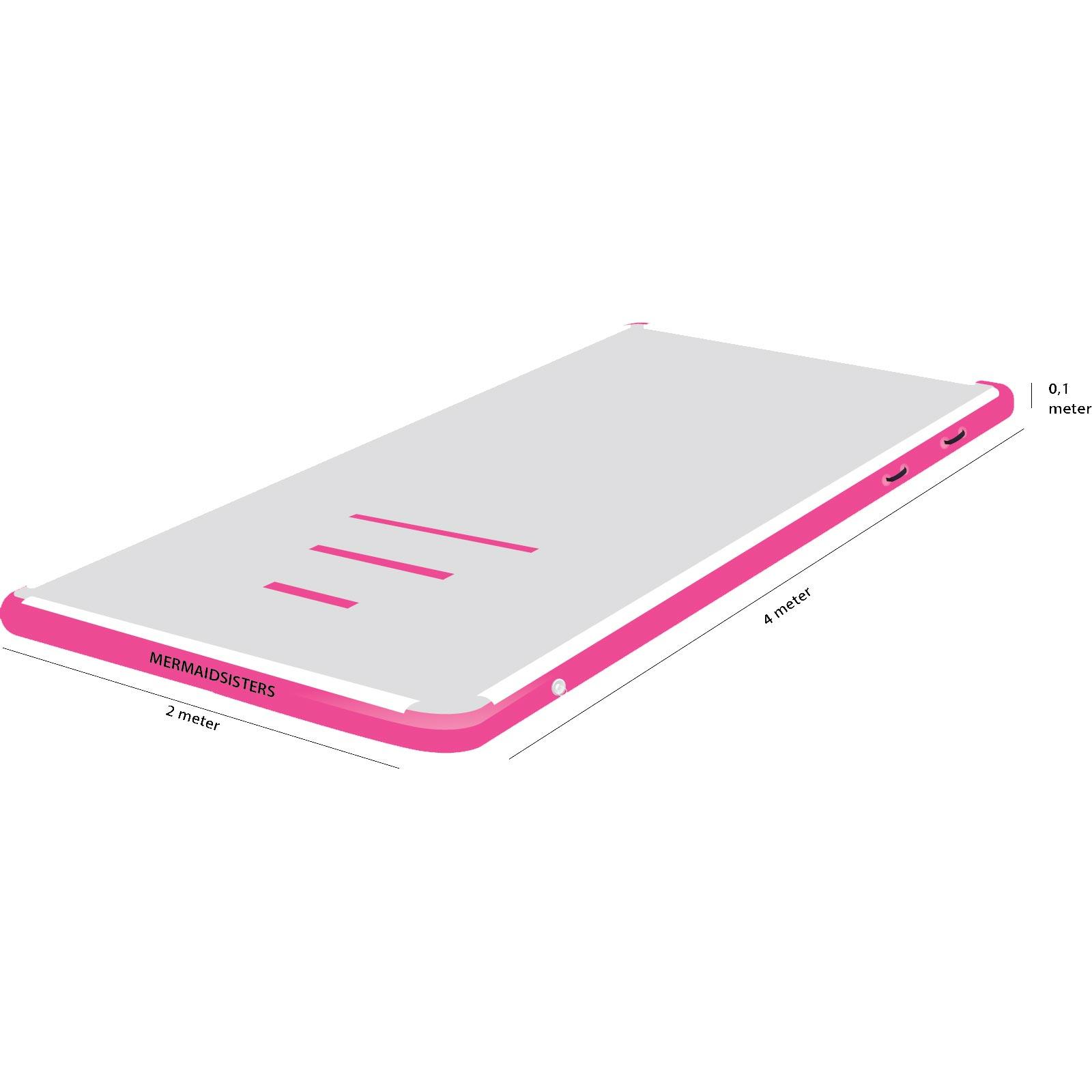 AirTrack 4 meter roze 2 meter breed 10 cm hoog