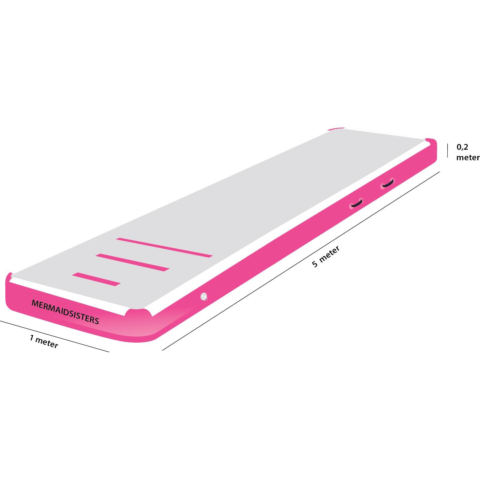 AirTrack 5 meter roze 1 meter breed 20 cm hoog