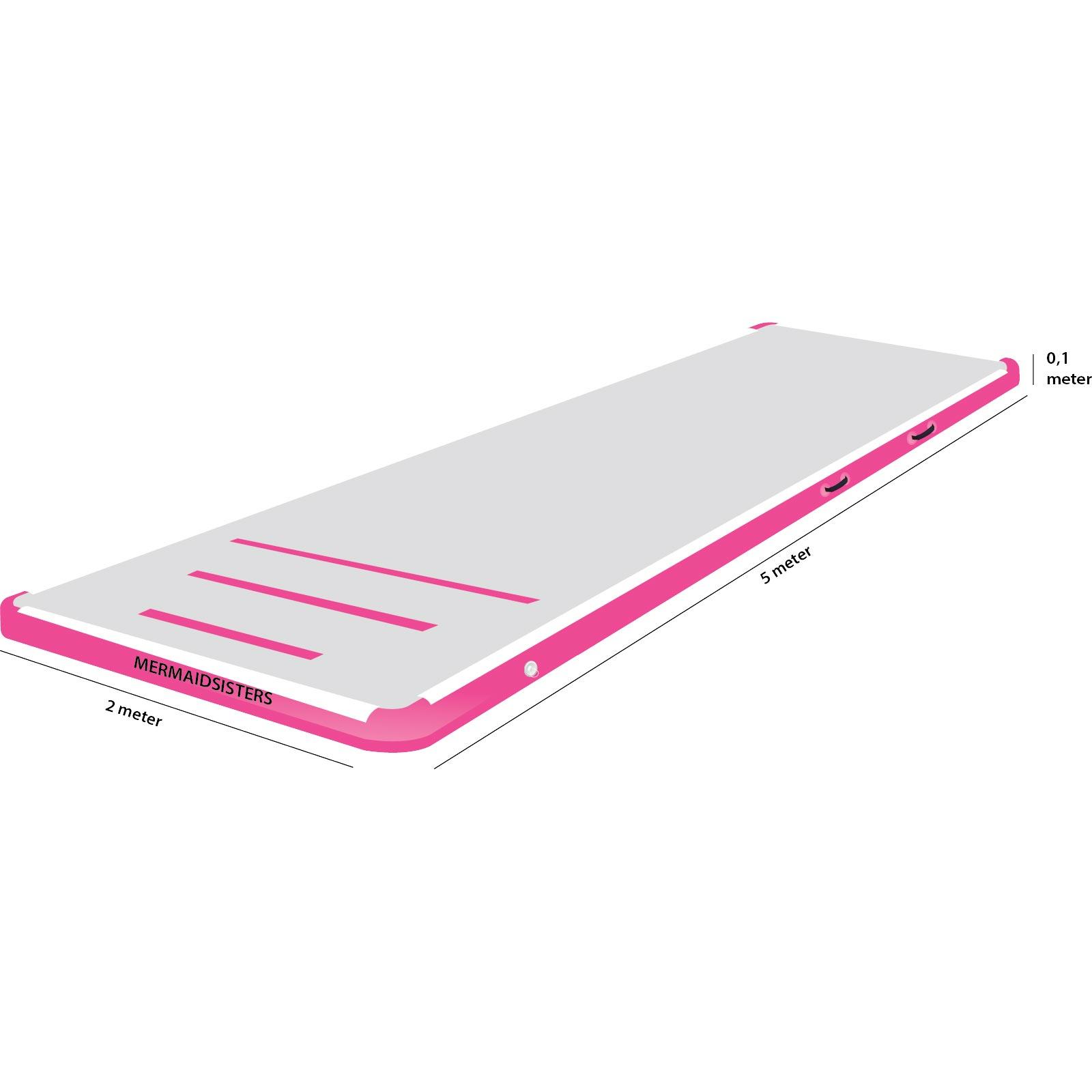 AirTrack 5 meter roze 2 meter breed 10 cm hoog