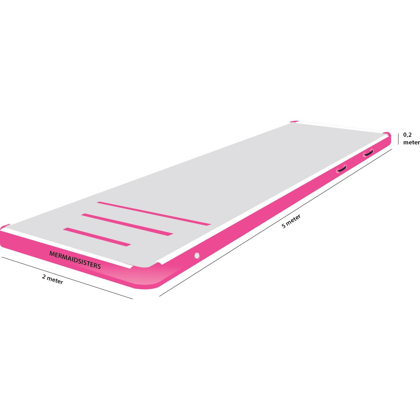 AirTrack 5 meter roze 2 meter breed 20 cm hoog
