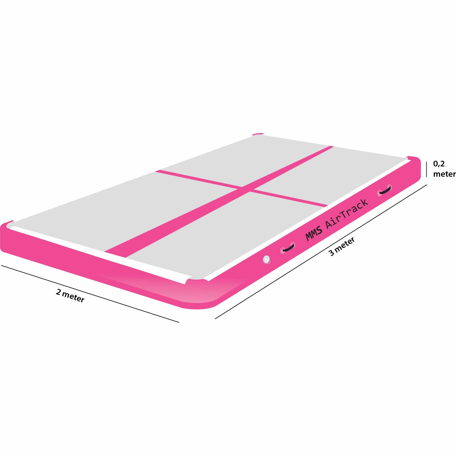 Airtrack 3 meter x 2 x 0,2 roze