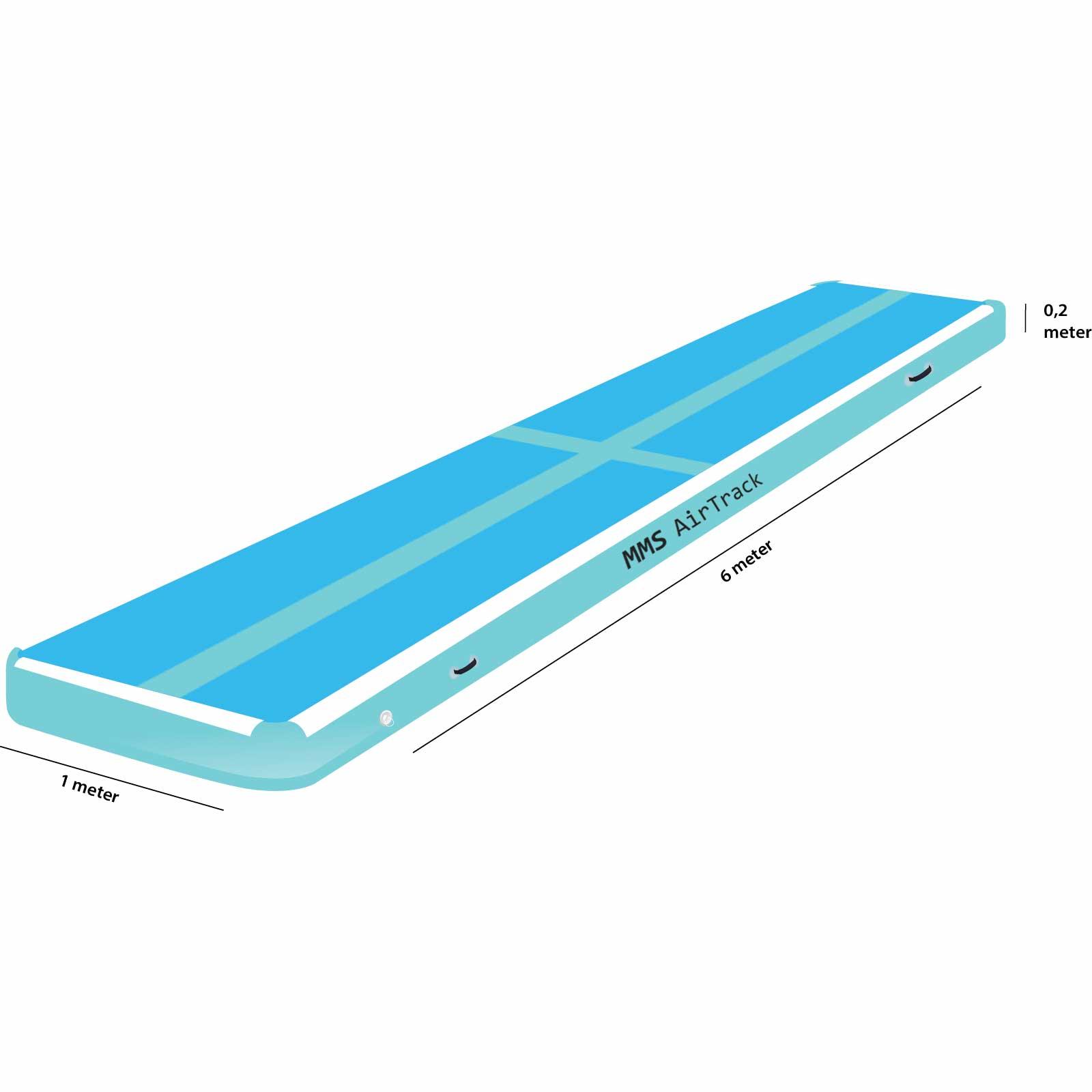 Airtrack 6 met x 1 x 0,2 blauw