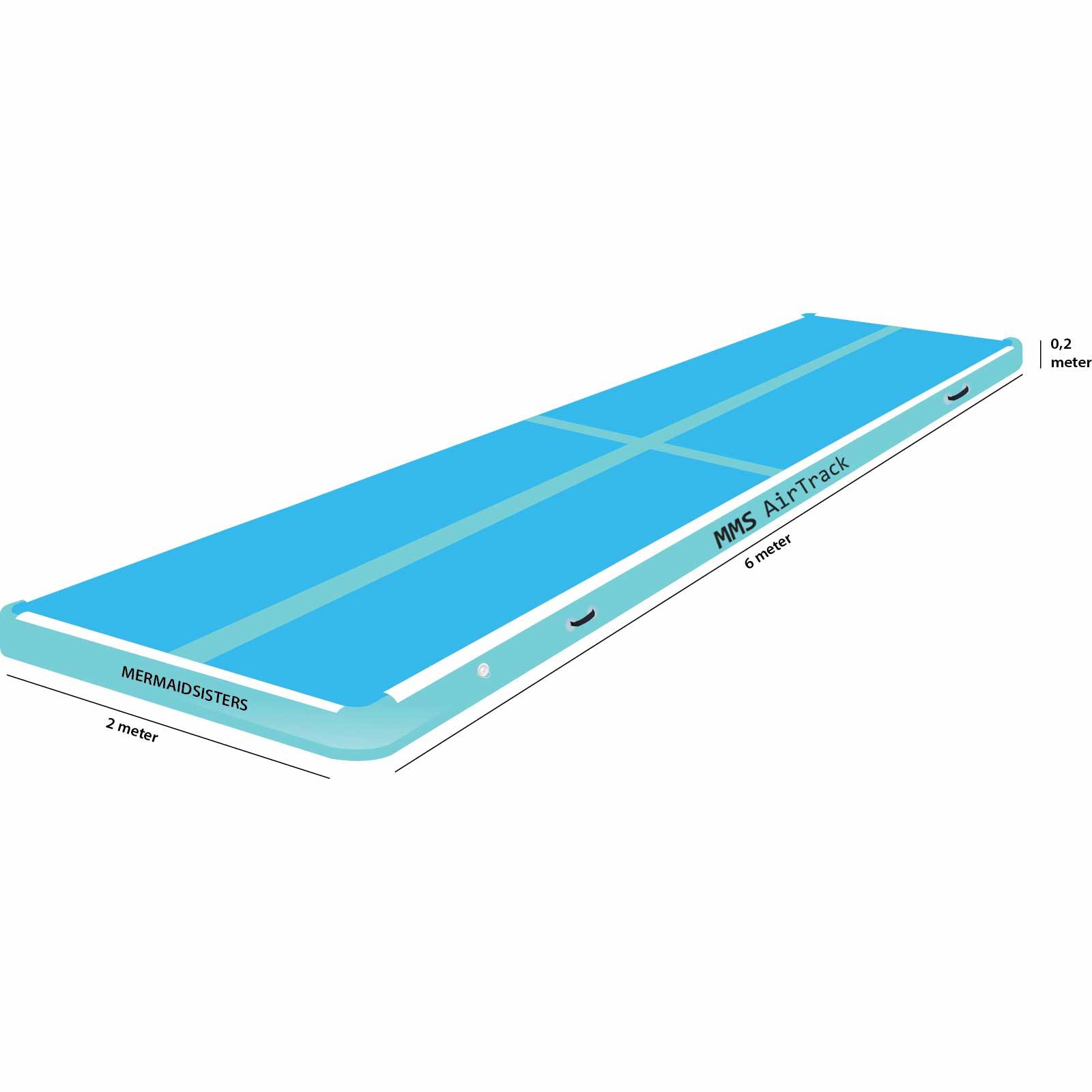Airtrack 6 meter x 2 x 0,2 blauw